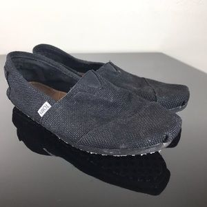 Toms Black Burlap Woven Slip in Casual Shoes